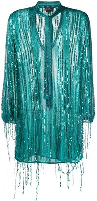 Elisabetta Franchi Fringed Sequin-Embroidered Dress