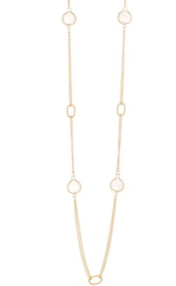 Rivka Friedman 18K Gold Clad Double Row Rose Quartz Oval Cable Station Necklace