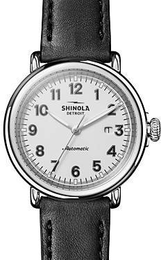 Shinola The Runwell Black Leather Strap Automatic Watch, 45mm
