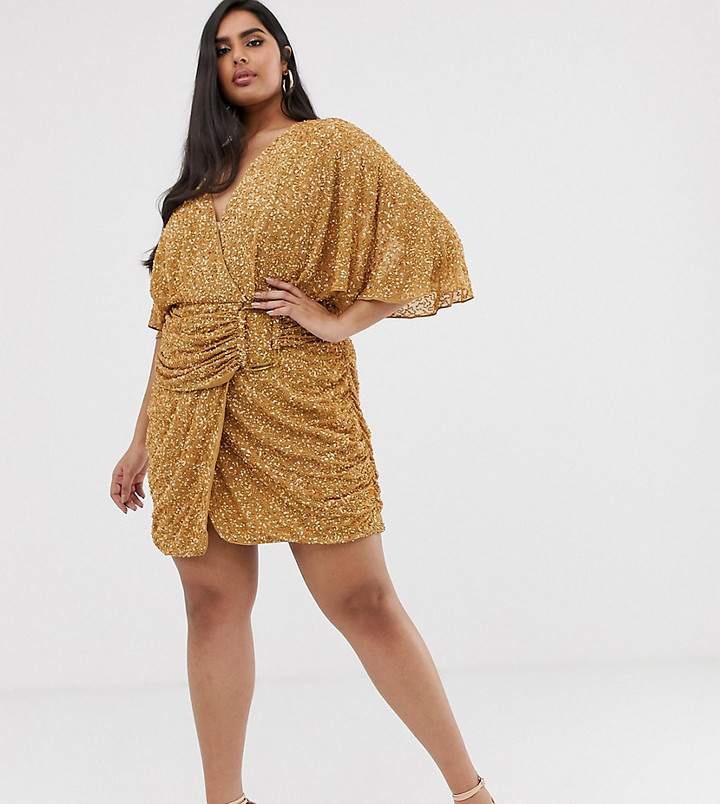 Asos Curve ASOS DESIGN Curve all over sequin mini dress with horn buckle-Brown