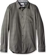 Calvin Klein Sportswear Men's Slim Fit Long Sleeve Jacquard Plaid Button Down Shirt