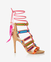 Express Geometric Strappy Lace-up Heeled Sandals
