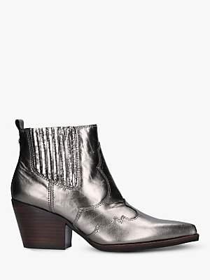 Sam Edelman Winona Block Heel Leather Cowboy Boots, Metallic