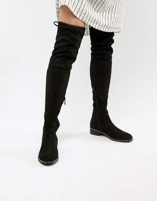 Raid RAID Studded Flat Over The Knee Boots-Black