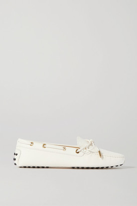 Tod's City Gommino Textured-leather Loafers - White