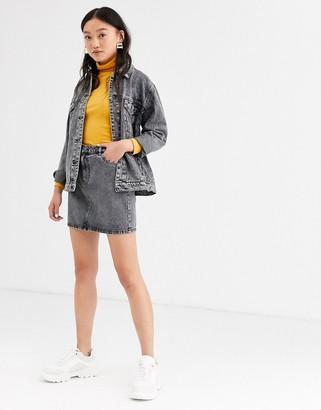 Only denim mini skirt in acid wash-Grey