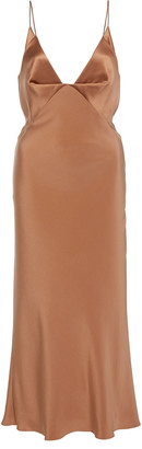 Cushnie Satin-Paneled Silk Midi Dress