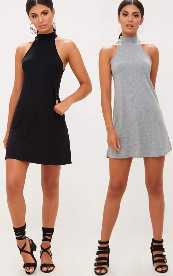 PrettyLittleThing 2 Pack Black & Grey Jersey High Neck Swing Dress