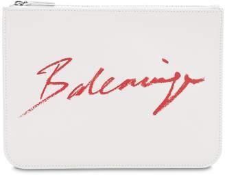 Balenciaga LIPSTICK PRINTED LOGO LEATHER POUCH