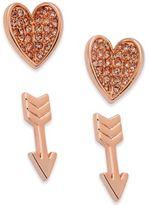 Vera Bradley 2-Pc. Set Pavé Heart and Arrow Stud Earrings