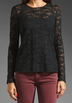 Juicy Couture Cire Lace Long Sleeve Top with Leather
