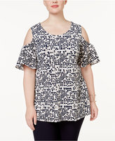 Alfani Plus Size Printed Cold-Shoulder Top, Created for Macy's