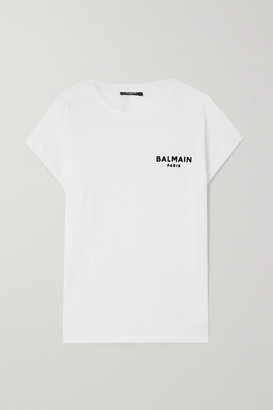 Balmain Flocked Cotton-jersey T-shirt - White