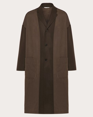 Valentino Coat In Double-layer Wool Man Brown Polyester 100% 54