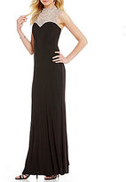 Cachet Beaded High Neck Matte Jersey Gown