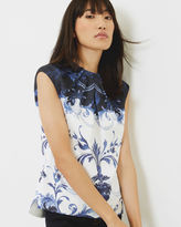 Ted Baker Persian Blue gathered neck top