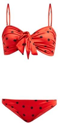Ganni Rosedale Polka-dot Bandeau Bikini - Womens - Red Print