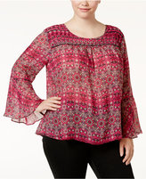 Jessica Simpson Trendy Plus Size Wilma Bell-Sleeve Blouse