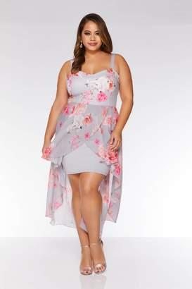 Quiz Curve Grey and Coral Chiffon Dip Hem Dress