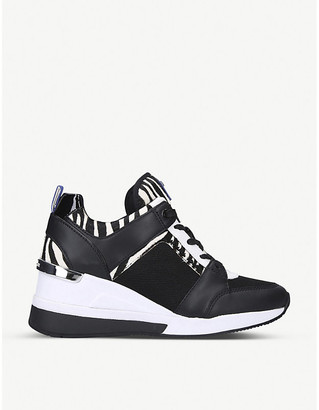 MICHAEL Michael Kors Georgie zebra-patterned leather and mesh wedge trainers