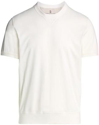 Brunello Cucinelli Short-Sleeve Cotton Sweatshirt