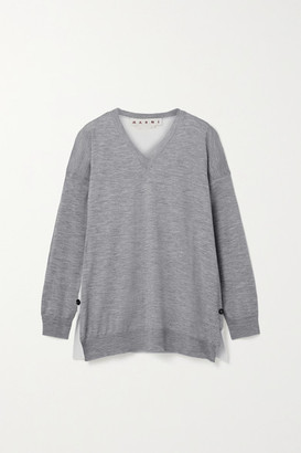 Marni Paneled Wool Sweater - Gray