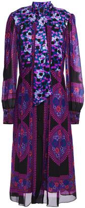 Anna Sui Hammered Silk Satin-paneled Printed Georgette Midi Dress