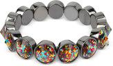 Betsey Johnson Hematite-Tone Confetti Stone Stretch Bracelet