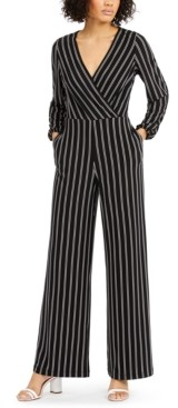 INC International Concepts Inc V-Neck Striped Jumpsuit, Created for Macy's