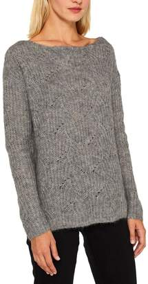 Esprit Womens Grey Long Sleeved Cable Sweater - Grey
