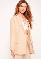 Missguided Double Breasted Tailored Blazer Nude