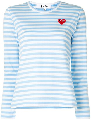 Comme des Garcons striped logo-patch long sleeved T-shirt
