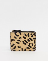 Paul Costelloe Leather Tassle Coin Ladies' wallet In Black Animal Print