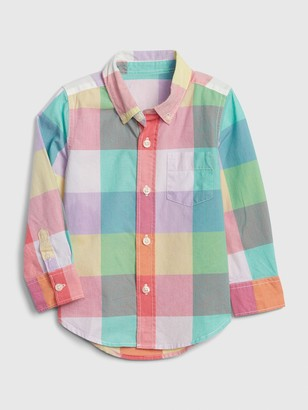 Gap Toddler Plaid Poplin Long Sleeve Shirt