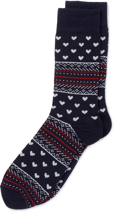 Topman Heart Pattern Socks