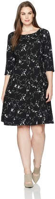 Taylor Dresses Women's Plus Size Falling Leaf Jacquard Knit Fit and Flare Dress