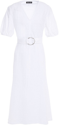Markus Lupfer Luca Belted Broderie Anglaise Cotton-blend Midi Dress