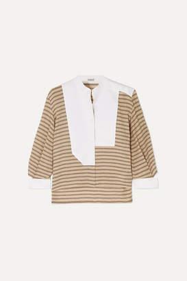 Loewe Cutout Poplin-paneled Striped Cotton-blend Shirt - Beige