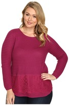 Lucky Brand Plus Size Lace Mix Sweater