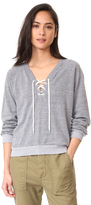 Monrow Dark Heather Lace Up Sweatshirt