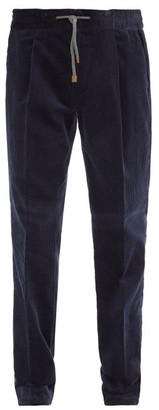Brunello Cucinelli Leather-trimmed Drawcord Cotton-corduroy Trousers - Navy