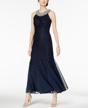 R & M Richards Embellished Lace Gown