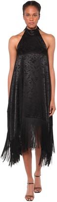 MSGM Jacquard Satin Midi Dress W/ Fringe