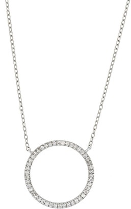 Carriere Sterling Silver Pave Diamond Circle Pendant Necklace - 0.14 ctw