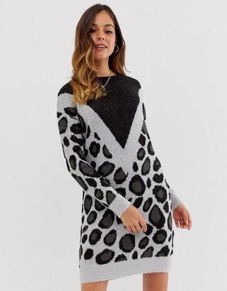 Brave Soul simba chevron animal print sweater dress