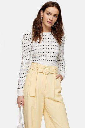 Topshop White and Black Square Spot Puff Sleeve Knitted Sweater