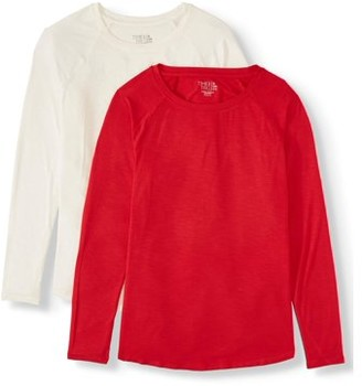 Time and Tru Women's Long-Sleeve Raglan T-Shirt, 2-Pack Bundle