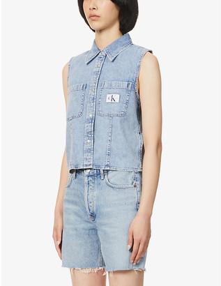 Calvin Klein Archive sleeveless branded denim shirt