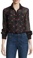 McQ Button-Front Floral-Print Silk Lingerie Shirt