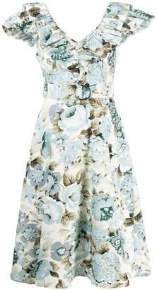P.A.R.O.S.H. V-neck ruffled trim dress